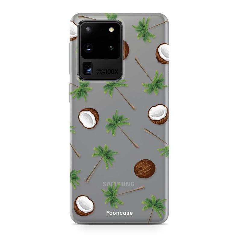 FOONCASE Samsung Galaxy S20 Ultra hoesje TPU Soft Case - Back Cover - Coco Paradise / Kokosnoot / Palmboom