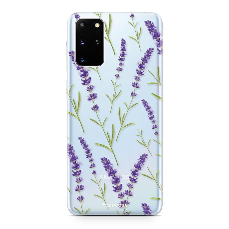 FOONCASE Samsung Galaxy S20 Plus hoesje TPU Soft Case - Back Cover - Purple Flower / Paarse bloemen