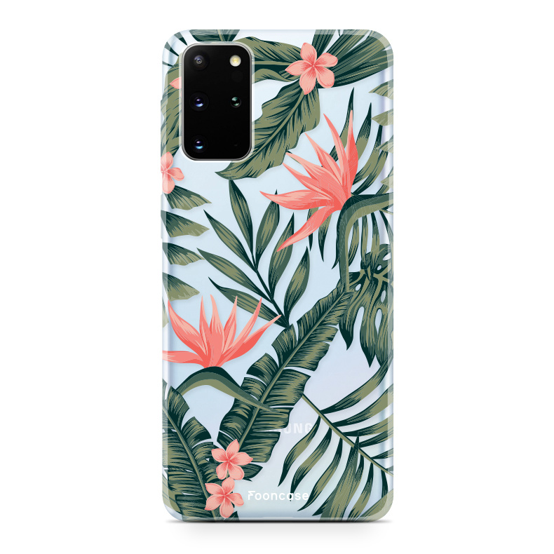 FOONCASE Samsung Galaxy S20 Plus hoesje TPU Soft Case - Back Cover - Tropical Desire / Bladeren / Roze