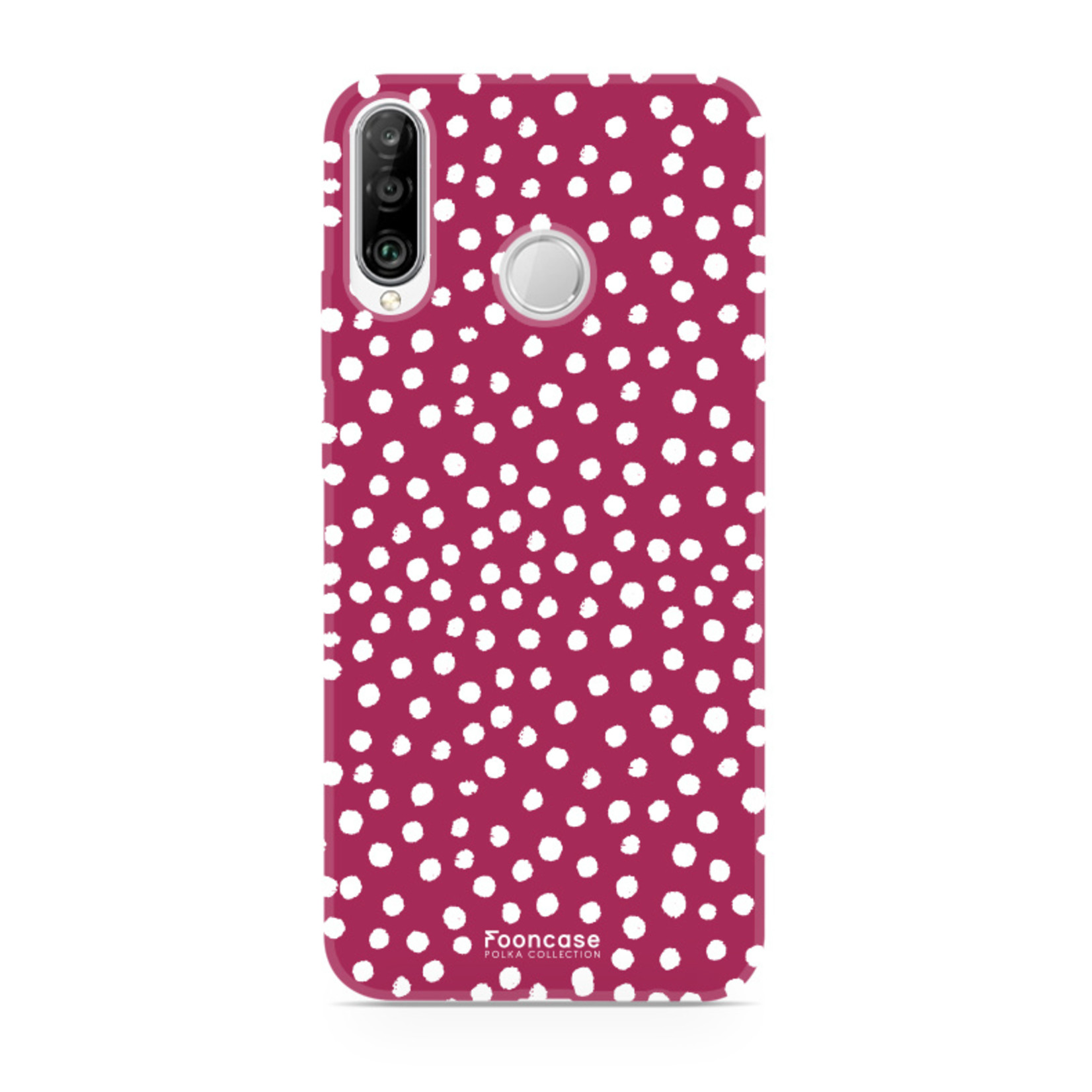 FOONCASE Huawei P30 Lite hoesje TPU Soft Case - Back Cover - POLKA COLLECTION / Stipjes / Stippen / Rood