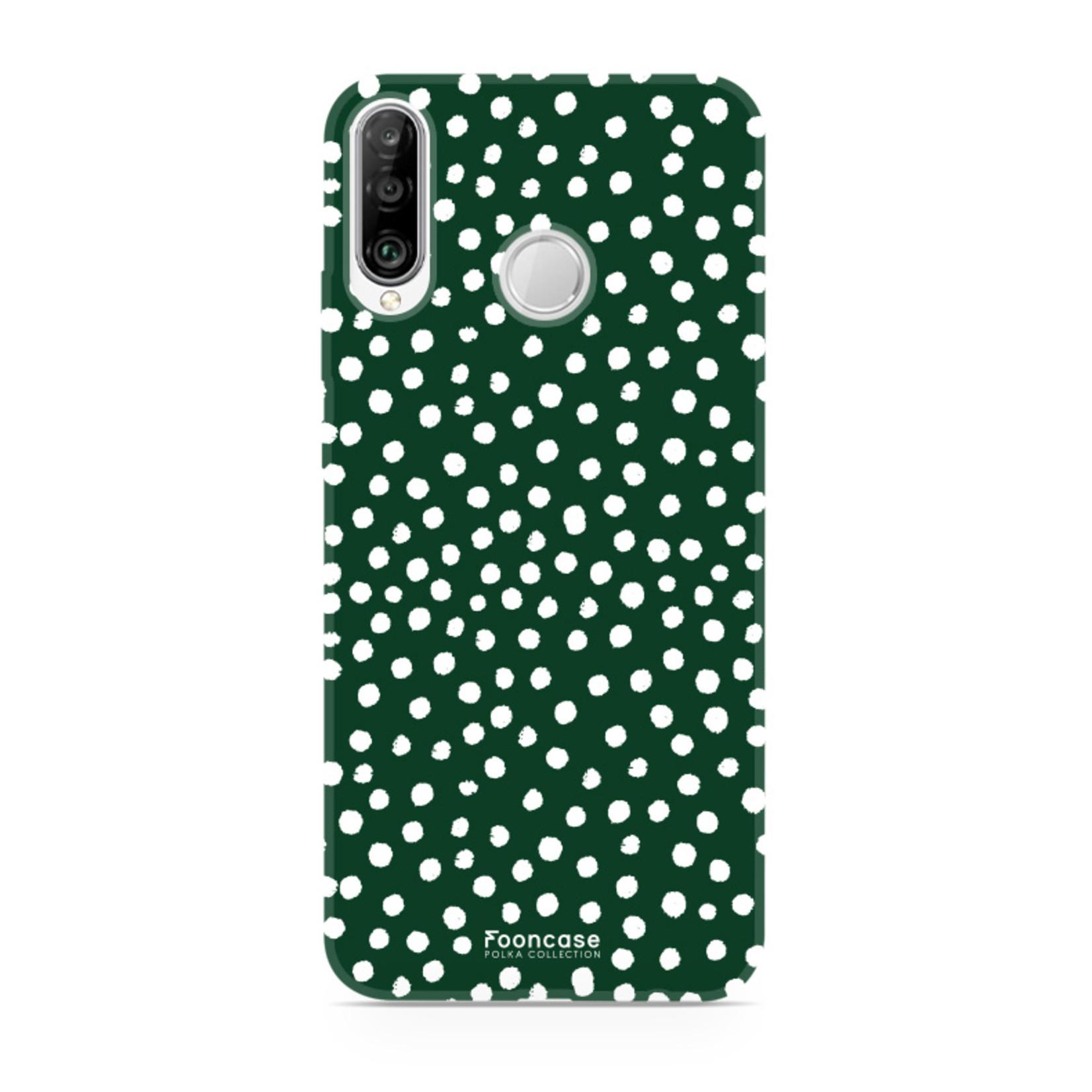 FOONCASE Huawei P30 Lite hoesje TPU Soft Case - Back Cover - POLKA COLLECTION / Stipjes / Stippen / Groen