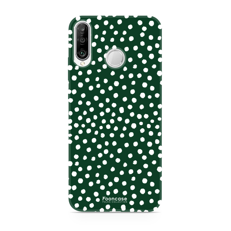 FOONCASE Huawei P30 Lite hoesje TPU Soft Case - Back Cover - POLKA COLLECTION / Stipjes / Stippen / Groen