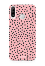 FOONCASE Huawei P30 Lite hoesje TPU Soft Case - Back Cover - POLKA COLLECTION / Stipjes / Stippen / Roze