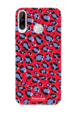 FOONCASE Huawei P30 Lite hoesje TPU Soft Case - Back Cover - WILD COLLECTION / Luipaard / Leopard print / Rood