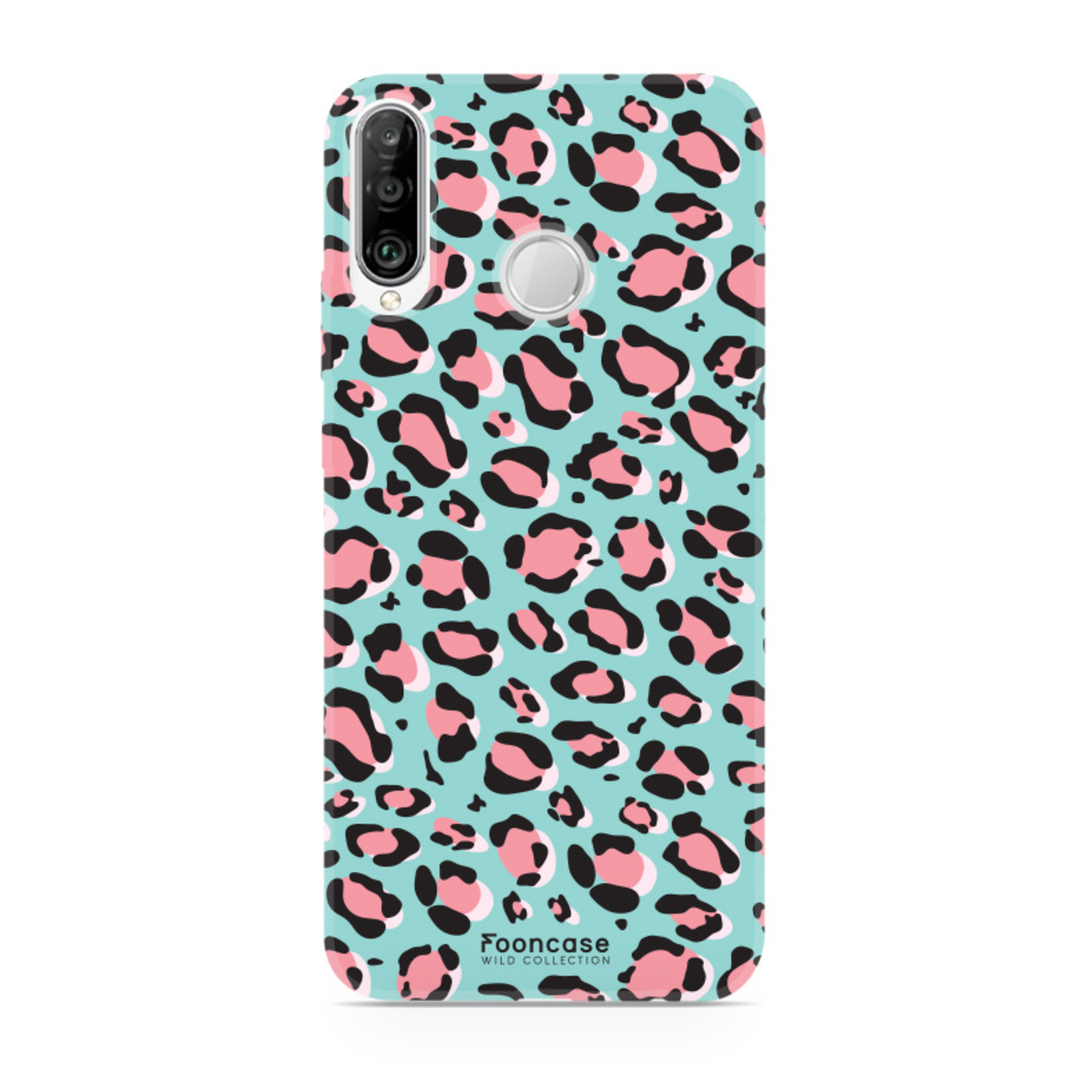 FOONCASE Huawei P30 Lite hoesje TPU Soft Case - Back Cover - WILD COLLECTION / Luipaard / Leopard print / Blauw