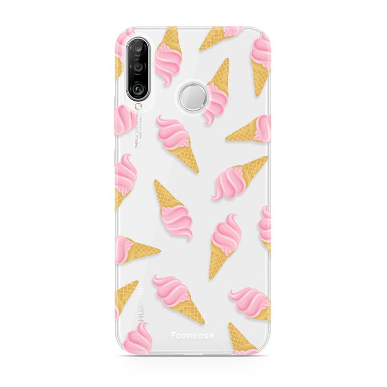 FOONCASE Huawei P30 Lite hoesje TPU Soft Case - Back Cover - Ice Ice Baby / Ijsjes / Roze ijsjes