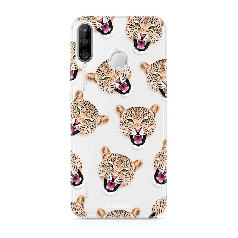 FOONCASE Huawei P30 Lite hoesje TPU Soft Case - Back Cover - Cheeky Leopard / Luipaard hoofden