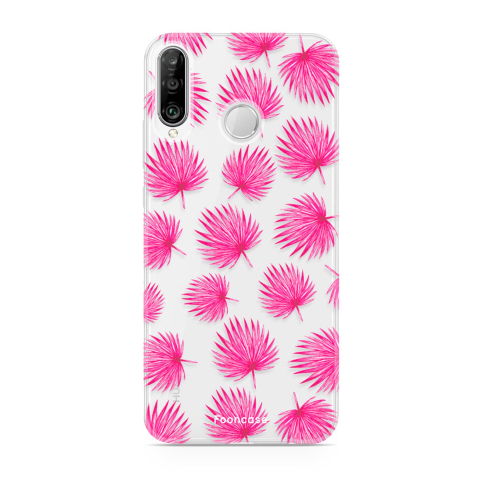 FOONCASE Huawei P30 Lite hoesje TPU Soft Case - Back Cover - Pink leaves / Roze bladeren