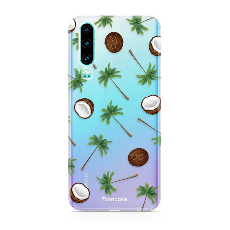 FOONCASE Huawei P30 hoesje TPU Soft Case - Back Cover - Coco Paradise / Kokosnoot / Palmboom
