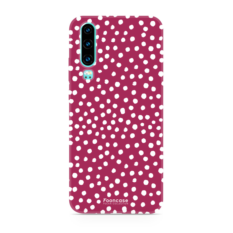 FOONCASE Huawei P30 hoesje TPU Soft Case - Back Cover - POLKA COLLECTION / Stipjes / Stippen / Rood