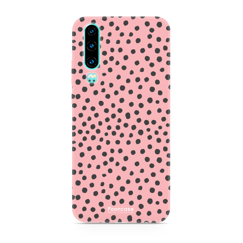 FOONCASE Huawei P30 hoesje TPU Soft Case - Back Cover - POLKA COLLECTION / Stipjes / Stippen / Roze