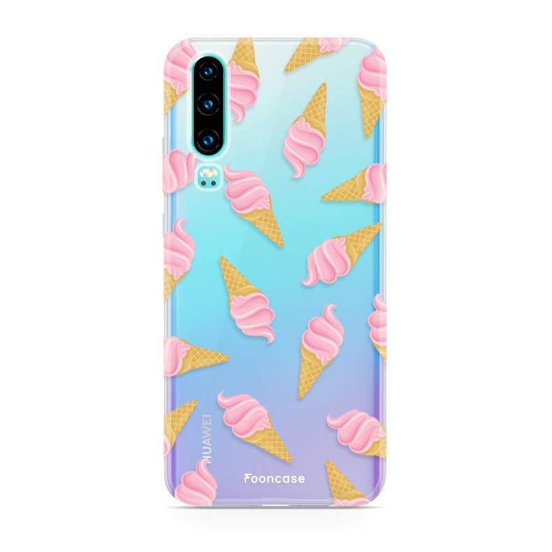 FOONCASE Huawei P30 hoesje TPU Soft Case - Back Cover - Ice Ice Baby / Ijsjes / Roze ijsjes