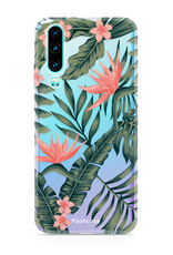 FOONCASE Huawei P30 hoesje TPU Soft Case - Back Cover - Tropical Desire / Bladeren / Roze