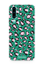 FOONCASE Huawei P30 hoesje TPU Soft Case - Back Cover - WILD COLLECTION / Luipaard / Leopard print / Groen