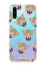 FOONCASE Huawei P30 hoesje TPU Soft Case - Back Cover - Cheeky Leopard / Luipaard hoofden