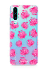 FOONCASE Huawei P30 hoesje TPU Soft Case - Back Cover - Pink leaves / Roze bladeren