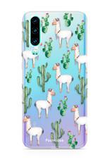 FOONCASE Huawei P30 hoesje TPU Soft Case - Back Cover - Alpaca / Lama