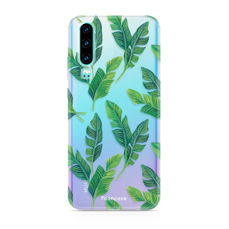FOONCASE Huawei P30 hoesje TPU Soft Case - Back Cover - Banana leaves / Bananen bladeren