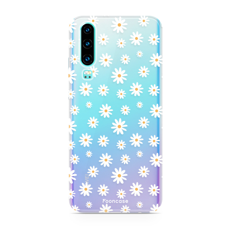 FOONCASE Huawei P30 hoesje TPU Soft Case - Back Cover - Madeliefjes