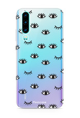 FOONCASE Huawei P30 hoesje TPU Soft Case - Back Cover - Eyes / Ogen