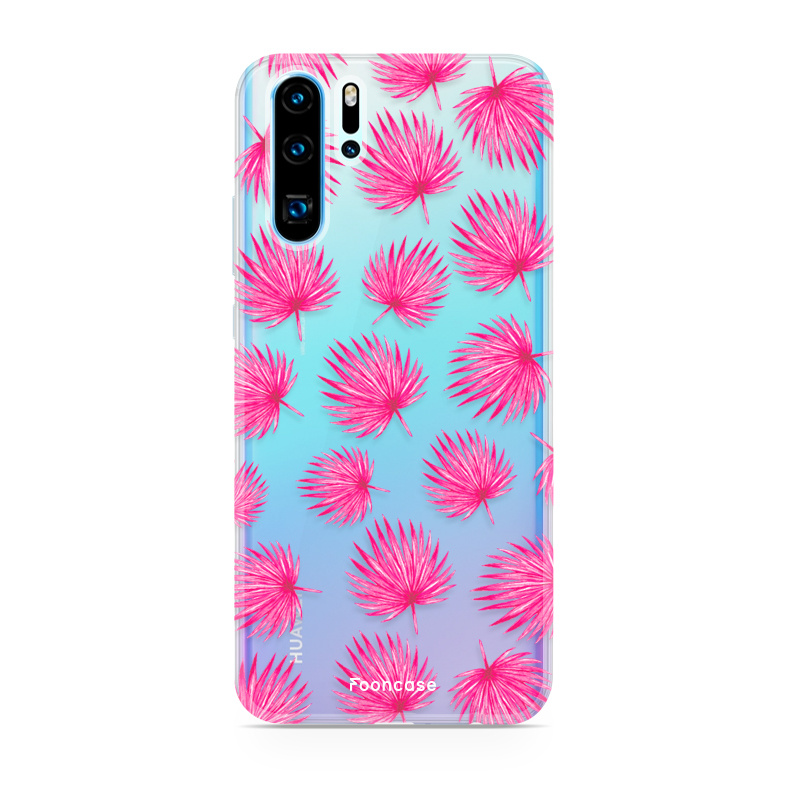 FOONCASE Huawei P30 Pro hoesje TPU Soft Case - Back Cover - Pink leaves / Roze bladeren
