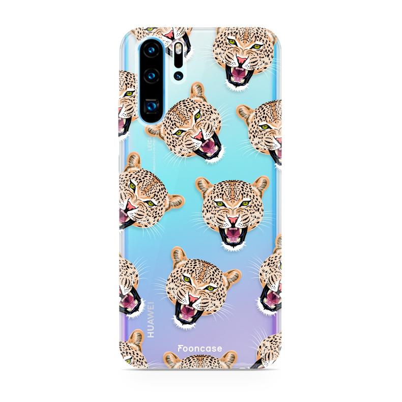 FOONCASE Huawei P30 Pro hoesje TPU Soft Case - Back Cover - Cheeky Leopard / Luipaard hoofden