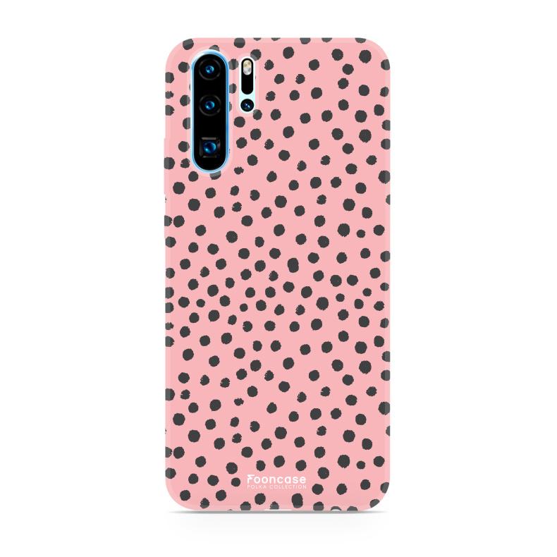 FOONCASE Huawei P30 Pro hoesje TPU Soft Case - Back Cover - POLKA COLLECTION / Stipjes / Stippen / Roze