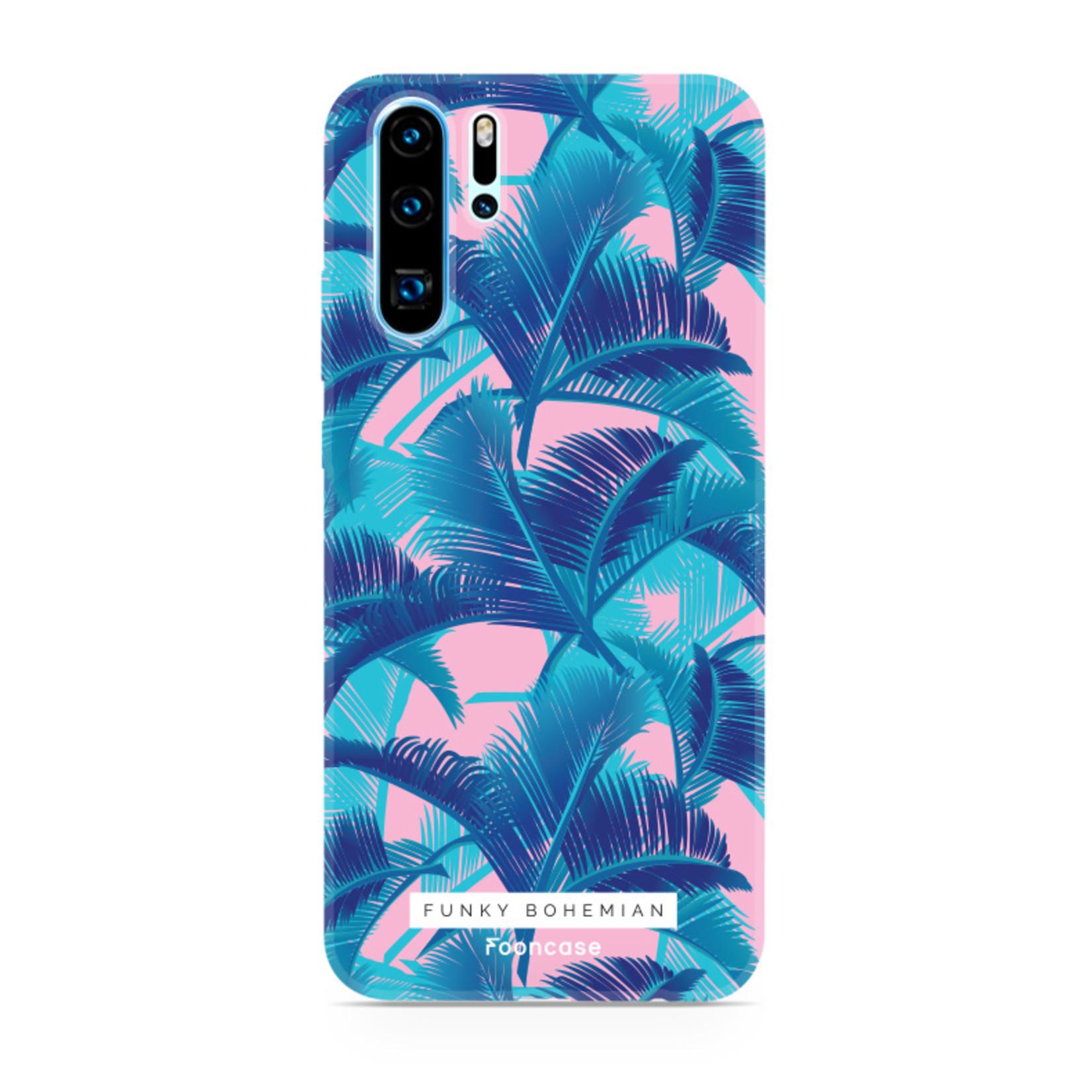 FOONCASE Huawei P30 Pro hoesje TPU Soft Case - Back Cover - Funky Bohemian / Blauw Roze Bladeren