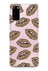 FOONCASE Samsung Galaxy S20 hoesje TPU Soft Case - Back Cover - Rebell Leopard Lips (leopard lippen)