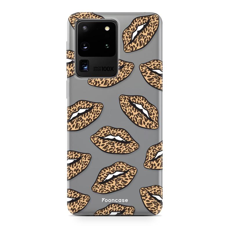 FOONCASE Samsung Galaxy S20 Ultra hoesje TPU Soft Case - Back Cover - Rebell Leopard Lips (leopard lippen)
