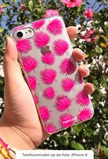 FOONCASE iPhone SE (2020) hoesje TPU Soft Case - Back Cover - Pink leaves / Roze bladeren