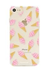 FOONCASE iPhone SE (2020) hoesje TPU Soft Case - Back Cover - Ice Ice Baby / Ijsjes / Roze ijsjes