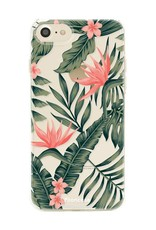 FOONCASE iPhone SE (2020) hoesje TPU Soft Case - Back Cover - Tropical Desire / Bladeren / Roze