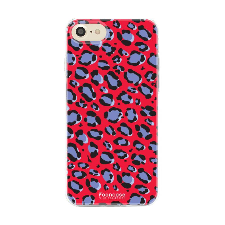 FOONCASE iPhone SE (2020) hoesje TPU Soft Case - Back Cover - WILD COLLECTION / Luipaard / Leopard print / Rood