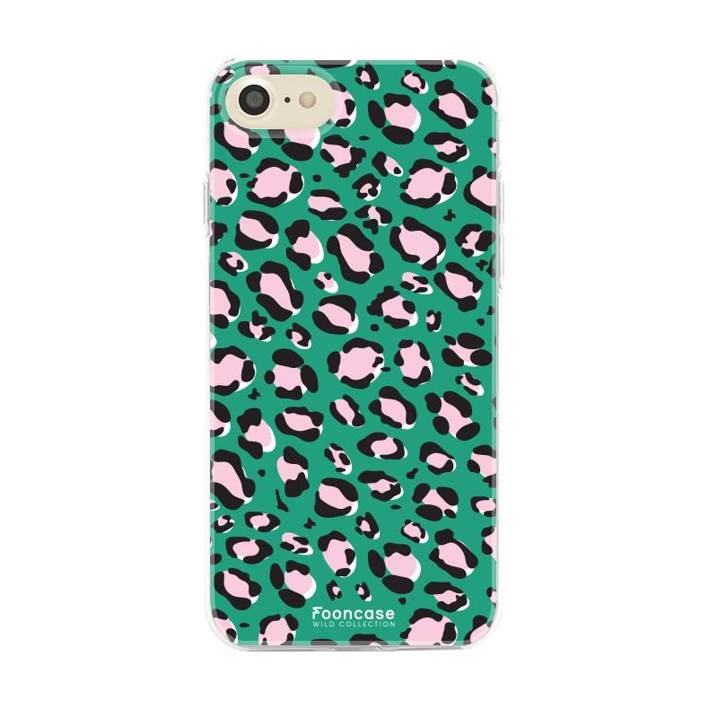 FOONCASE iPhone SE (2020) hoesje TPU Soft Case - Back Cover - WILD COLLECTION / Luipaard / Leopard print / Groen