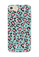 FOONCASE iPhone SE (2020) hoesje TPU Soft Case - Back Cover - WILD COLLECTION / Luipaard / Leopard print / Blauw