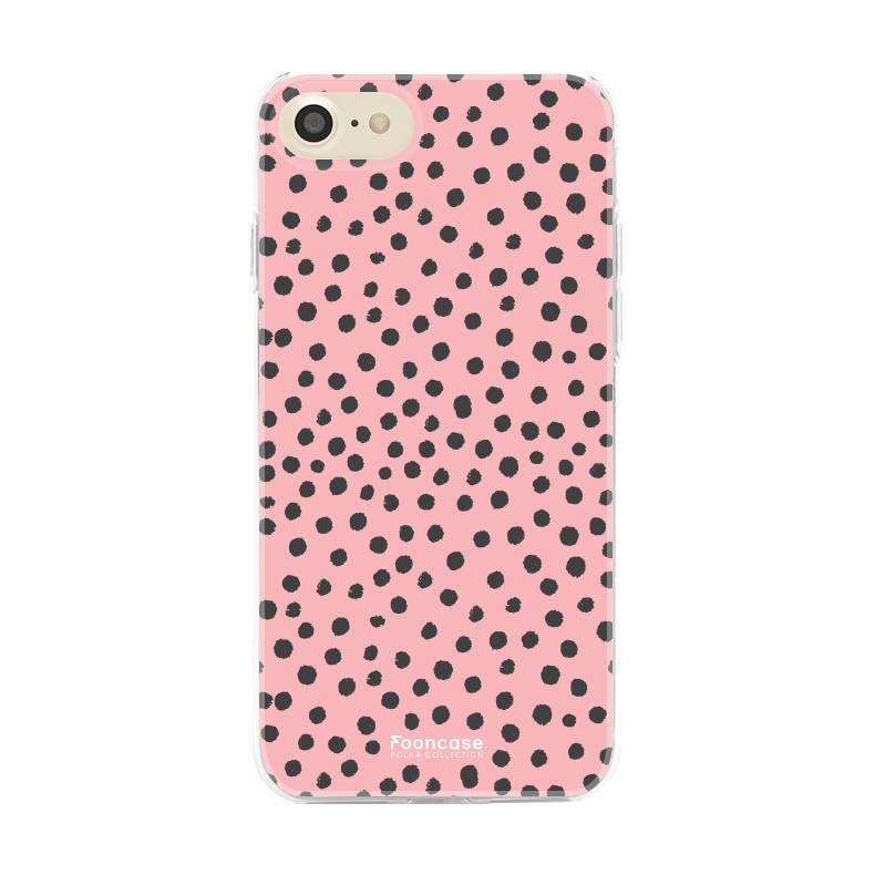 FOONCASE iPhone SE (2020) hoesje TPU Soft Case - Back Cover - POLKA COLLECTION / Stipjes / Stippen / Roze