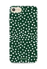 FOONCASE iPhone SE (2020) hoesje TPU Soft Case - Back Cover - POLKA COLLECTION / Stipjes / Stippen / Donker Groen
