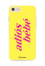 FOONCASE iPhone SE (2020) hoesje TPU Soft Case - Back Cover - Adiós Bébé ☀ / Geel & Roze