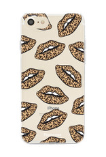 iPhone SE (2020) hoesje TPU Soft Case - Back Cover - Rebell Leopard Lips (leopard lippen)