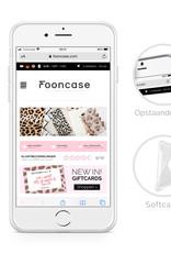 FOONCASE iPhone SE (2020) hoesje TPU Soft Case - Back Cover - Funky Bohemian / Blauw Roze Bladeren