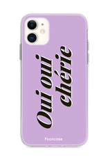 FOONCASE iPhone 11 hoesje TPU Soft Case - Back Cover - Oui Oui Chérie / Lila Paars & Wit