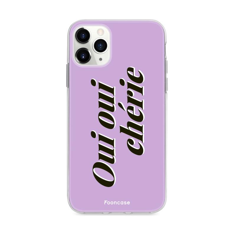 FOONCASE iPhone 11 Pro Max hoesje TPU Soft Case - Back Cover - Oui Oui Chérie / Lila Paars & Wit
