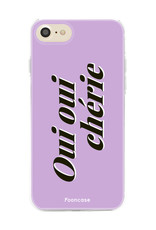 FOONCASE iPhone 8 hoesje TPU Soft Case - Back Cover - Oui Oui Chérie / Lila Paars & Wit