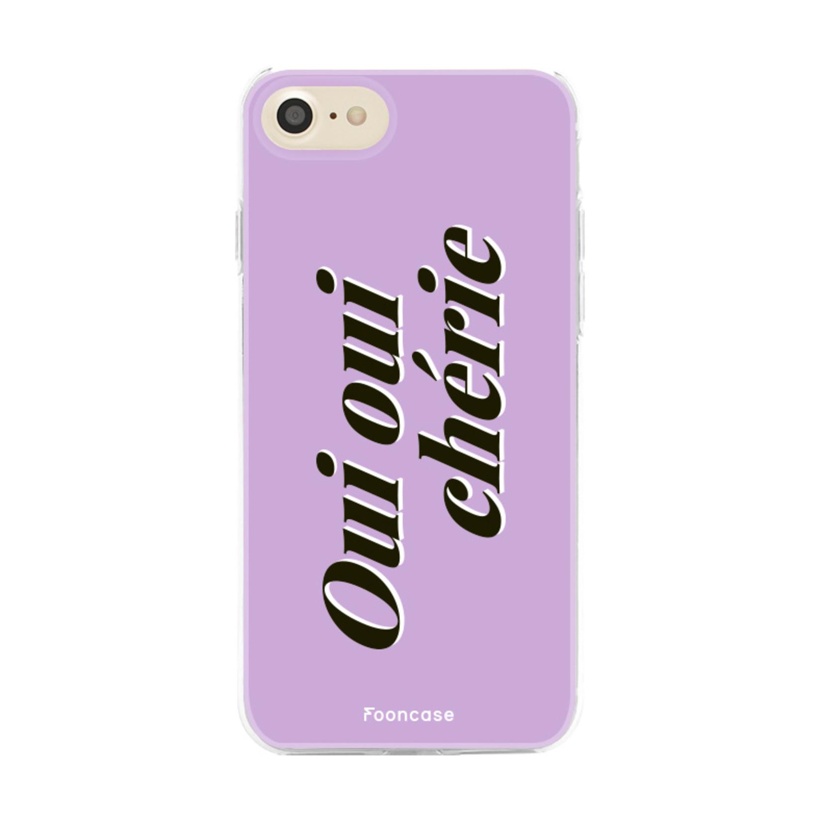 FOONCASE iPhone 8 hoesje TPU Soft Case - Back Cover - Oui Oui Chérie / Lila Paars & Wit