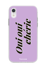 FOONCASE iPhone XR hoesje TPU Soft Case - Back Cover - Oui Oui Chérie / Lila Paars & Wit