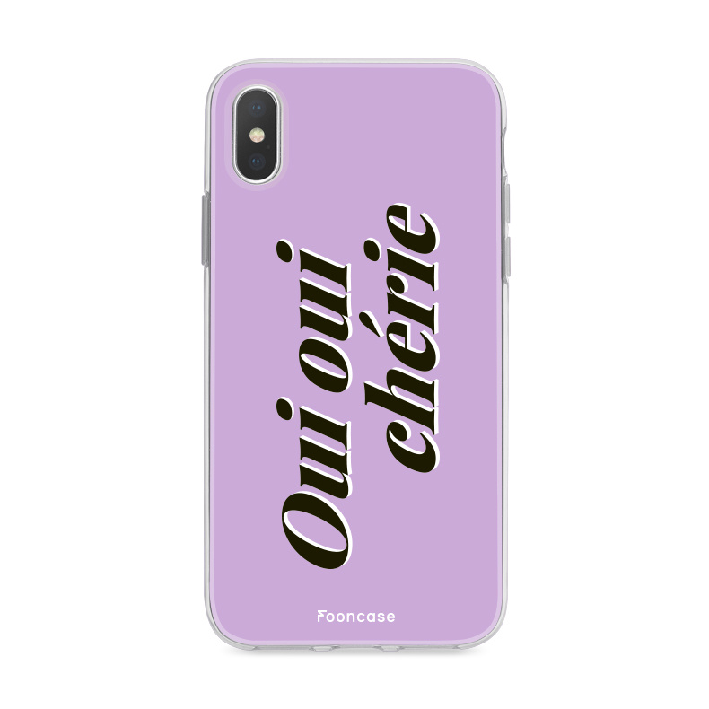 FOONCASE iPhone Xs hoesje TPU Soft Case - Back Cover - Oui Oui Chérie / Lila Paars & Wit