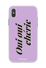 FOONCASE iPhone X hoesje TPU Soft Case - Back Cover - Oui Oui Chérie / Lila Paars & Wit