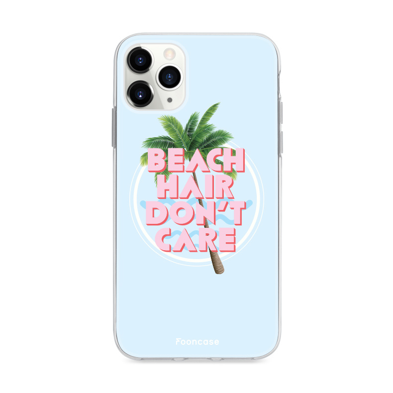 FOONCASE iPhone 11 Pro Max hoesje TPU Soft Case - Back Cover - Beach Hair Don't Care / Blauw & Roze