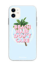 FOONCASE iPhone 11 hoesje TPU Soft Case - Back Cover - Beach Hair Don't Care / Blauw & Roze